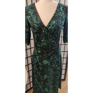 Connected Apparel Green & Black Damask Dress